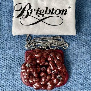Brighton Retired Leather Flower  Kisslock Clutch
